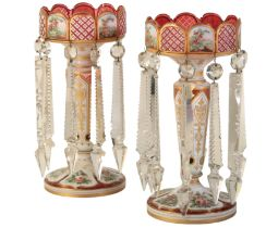 A PAIR OF VICTORIAN GLASS TABLE LUSTRES,
