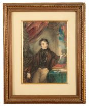 ASCRIBED TO COUNT ALFRED D'ORSAY (1801-1852) A portrait of a young gentleman in an interior