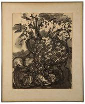 PETER SNOW (1927-2008) Still life study of flowers and fruit
