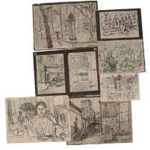 PETER SNOW (1927-2008) A FOLIO OF CITYSCAPE AND FIGURAL DRAWINGS