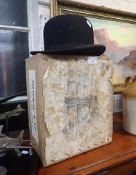 A VINTAGE BOWLER HAT, SIZE 7 1/2, BY HILHOUSE & Co NEW BOND ST.