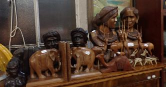 A COLLECTION OF AFRICAN CARVED HARDWOOD BUSTS