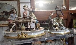 A CAPODIMONTE GROUP, BY 'ROBERTO B', A PIRATE WITH HIS TREASURE AND PARROT