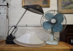 A VINTAGE AUSTRALIAN 'MISTRAL' TABLE FAN, AN ANGLEPOISE LAMP, EMSTON WIRELESS