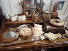 A COLLECTION OF WOODEN ITEMS, CHINESE PAINTED MARBLE PLAQUES