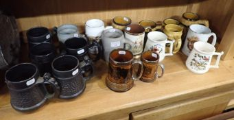 A COLLECTION OF BEER MUGS BY PRINKNASH POTTERY, PURBECK CERAMICS
