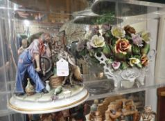 A CAPODIMONTE FIGURE, BY 'ROBERTO B' OF A GRAPE HARVESTER WITH HIS DONKEY