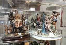 A CAPODIMONTE GROUP, BY 'ROBERTO B' ,TWO TRAMPS SURPRISING A NUDE FEMALE BATHER