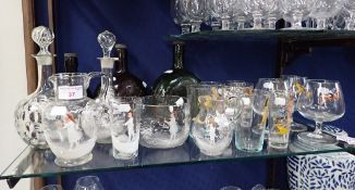 A COLLECTION OF KITSCH 1950S DRINKING GLASSES