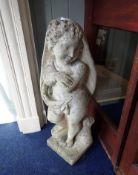 A RE-CONSTITUTED STONE GARDEN STATUE OF A CHILD