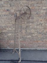 A 19TH CENTURY HAND PUSHED CULTIVATOR/DRILL
