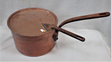 A LARGE COPPER PAN AND LID BY LEWIS & CONGER