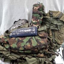 A COLLECTION OF CAMOUFLAGE CAMPING GEAR