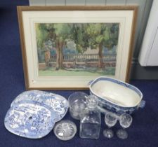 TWO WILLOW PATTERN CERAMIC DRAINERS