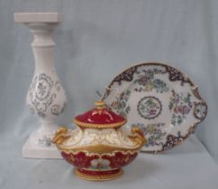 A LARGE ORIENTAL STONEWARE PLATE AND OTHER ITEMS