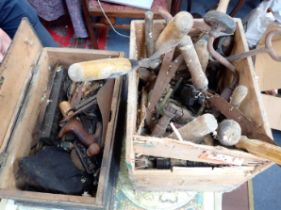 A VICTORIAN PINE TOOLBOX