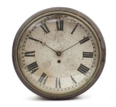 Victorian mahogany fusée wall clock with convex glass, 36cm in diameter