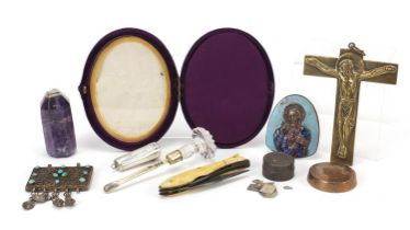 Antique and later objects including a silver cheroot case, glass handled silver gilt scoop, early