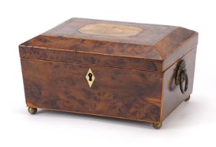 19th century inlaid bird's eye maple work box with fitted lift out interior and gilt ring turned