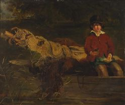 Frederick Richard Lee, RA - Young boy on a boat with fishing nets, 19th century oil on board,