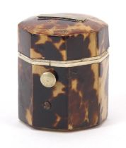 Georgian blonde tortoiseshell and ivory hexagonal ring box with fitted interior, 3.5cm high