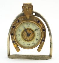 19th century horseshoe and stirrup design mantle clock with enamel dial having arabic numerals, 20cm