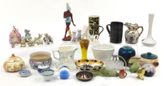Collectable china and glassware including a Bernard Moore vase, Celtic pottery, West German