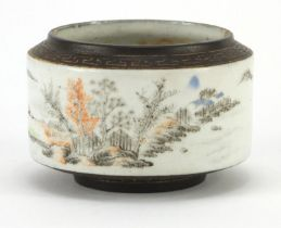 ** WITHDRAWN ** Chinese porcelain brush pot hand painted with figures in a river landscape, with sea