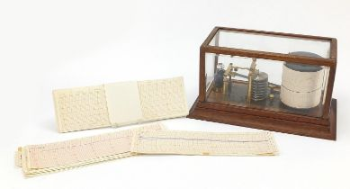 Victorian eight ring barograph with charts housed in a glazed oak case, 18cm H x 35cm W x 20cm D