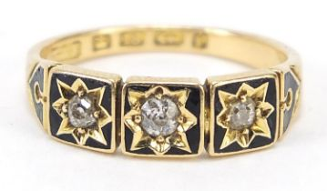 Victorian 18ct gold diamond and black enamel three stone mourning ring, Birmingham 1883, housed in a