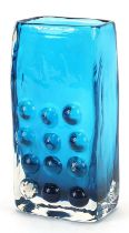 Geoffrey Baxter for Whitefriars, telephone glass vase in kingfisher blue, 17cm high