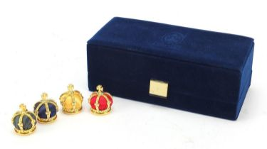 Set of four Fabergé Collection menu holders housed in a fitted silk and velvet lined case, each menu
