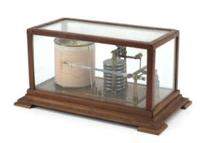 Victorian eight ring barograph housed in a glazed mahogany case, 18cm H x 35.5cm W x 20.5cm D