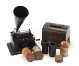 Thomas Edison oak cased phonograph with horn and three reels, 25cm wide excluding the handle
