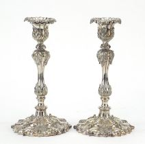 Pair of 19th century classical silver plated acanthus leaf candlesticks, each 25.5cm high
