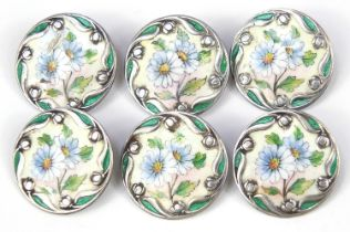Set of six sterling silver buttons enamelled with flowers, each 2.5cm in diameter, 32.4g