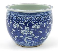 Large Chinese blue and white porcelain jardinière hand painted with prunus flowers, 24.5cm high x