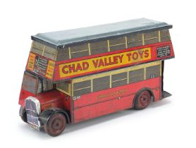 Vintage Chad Valley Toys tinplate London Transport bus biscuit tin advertising Carr's biscuits, 25cm