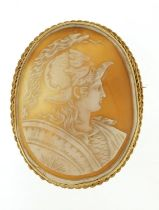 Large well detailed gladiator cameo brooch with 9ct gold mount, 7cm high, 27.4g