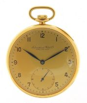 International Watch Co, gentlemen's 18ct gold open face pocket watch with subsidiary dial, the