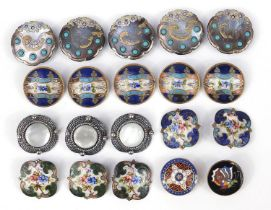 19th century and later buttons including abalone examples with turquoise coloured cabochons and some