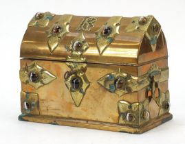 Victorian Gothic style brass stationary box set with Scottish agate cabochons, 17cm H x 22cm W x