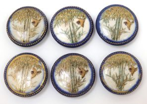 Set of six Japanese Satsuma pottery buttons, each hand painted with a bird amongst bamboo grove,