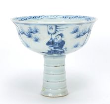 Chinese blue and white porcelain stem bowl hand painted with warriors, 11cm high x 12.5cm in