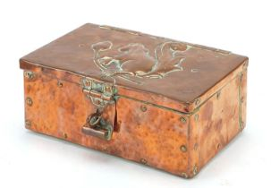 John Pearson, Arts & Crafts copper casket embossed with a squirrel on an acorn tree, impressed JP to