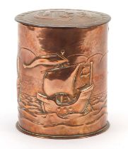 Newlyn, Arts & Crafts copper tea caddy embossed with three sailing ships, impressed Newlyn to the