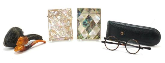 Antique and later objects including two Victorian mother of pearl and abalone calling card cases,