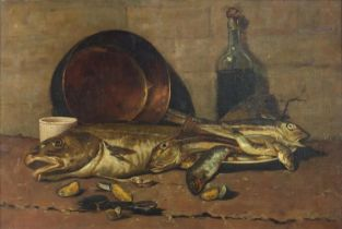 Still life fish, copper pan, bottle, and shells, antique oil on canvas, framed, 73.5cm x 49.5cm