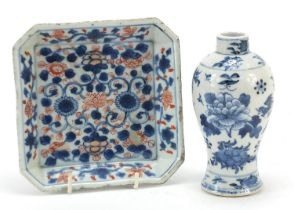 Chinese blue and white porcelain baluster vase and a square dish hand painted in the Imari palette
