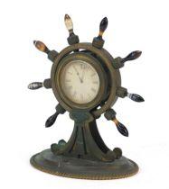 19th century gilt bronze ship's wheel design mantle clock with Scottish agate handles and Roman